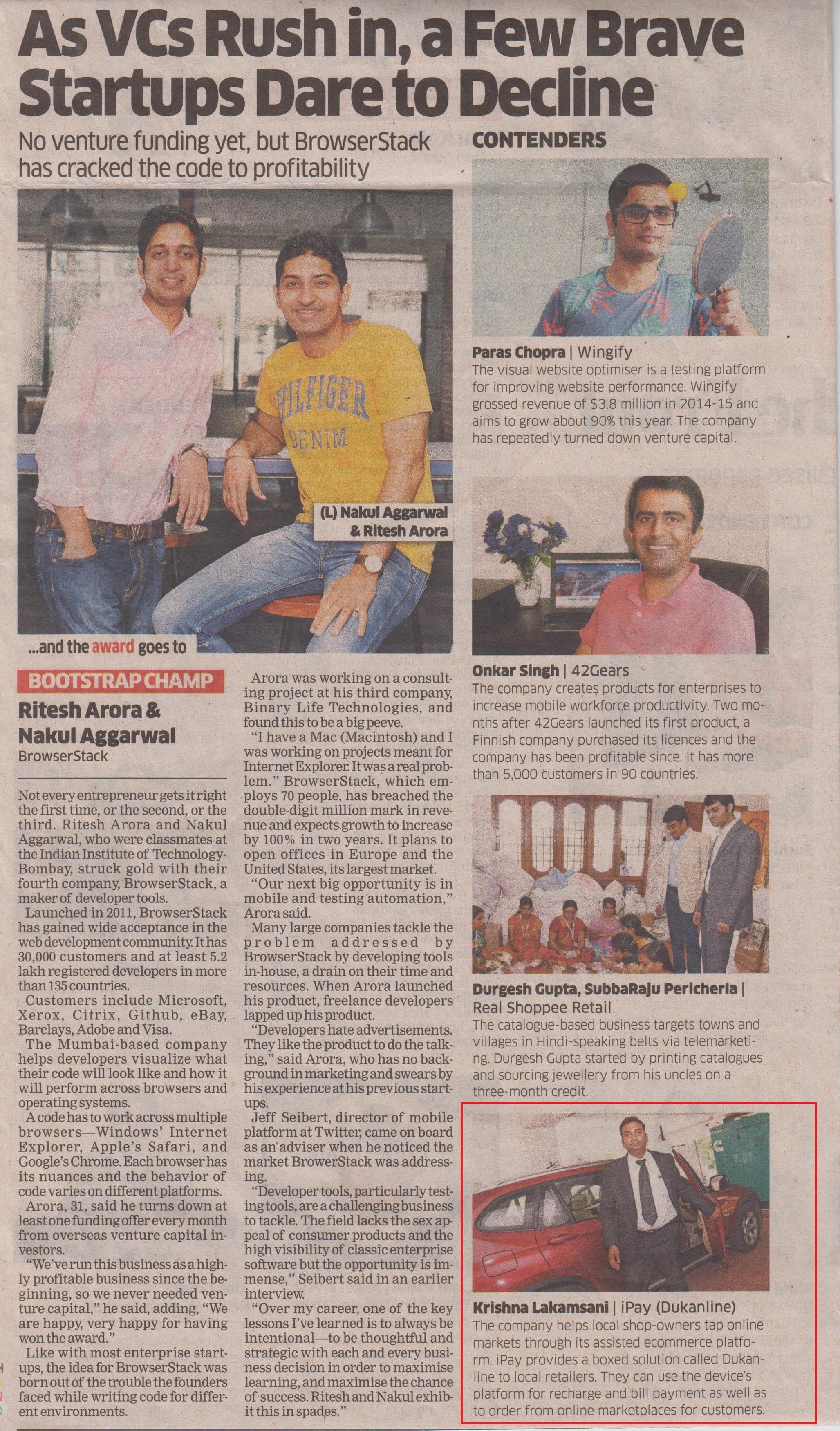 Coverage of IPay in The Economic Times (ET Startup Awards